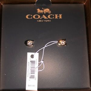 Coach gold diamond earrings